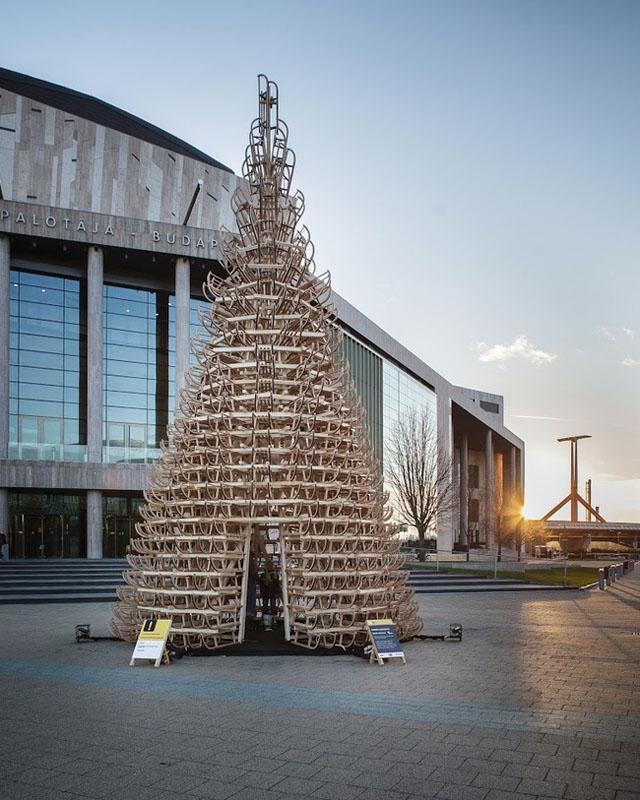 Christmas Tree Made of Sleds