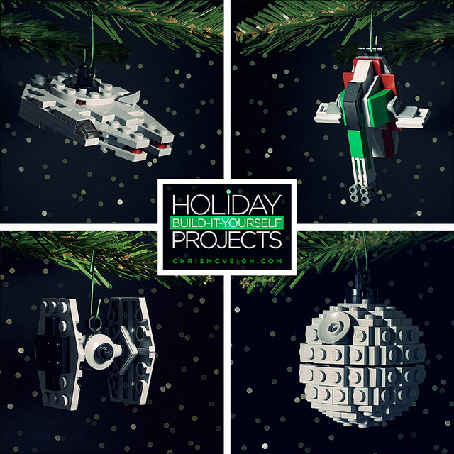 Build-it-Yourself 2013: Millennium Falcon, Death Star, TIE Fighter, and Bounty's Hunter Ornaments