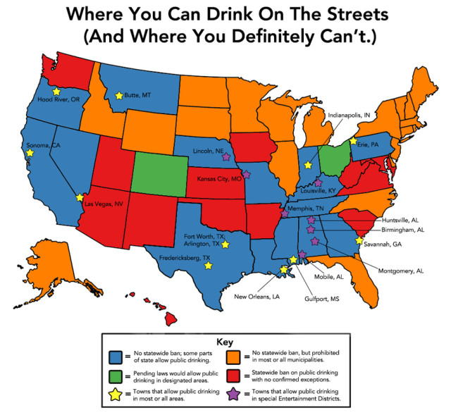 Map Showing Which US Cities and States Permit Public Drinking