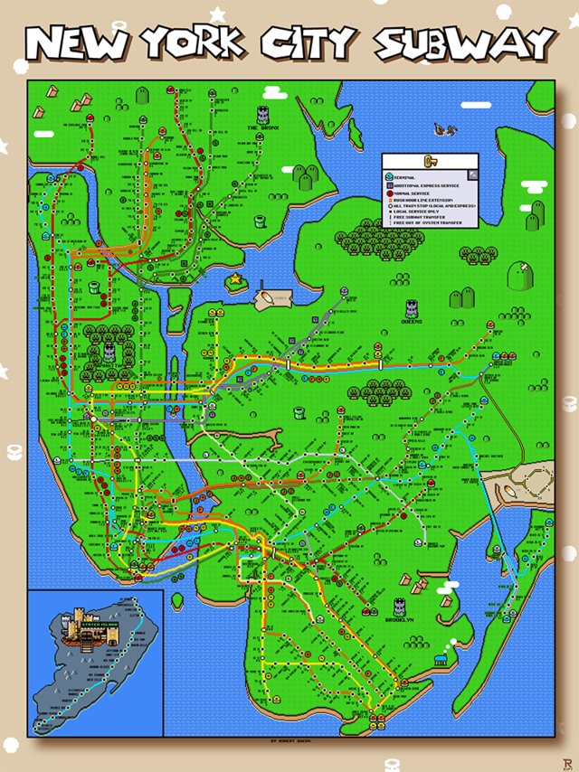 New York City Subway Map in the Style of \'Super Mario World\'
