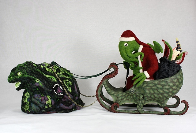 Santa Cthulhu, A Needle Felted Wool Sculpture For 2013