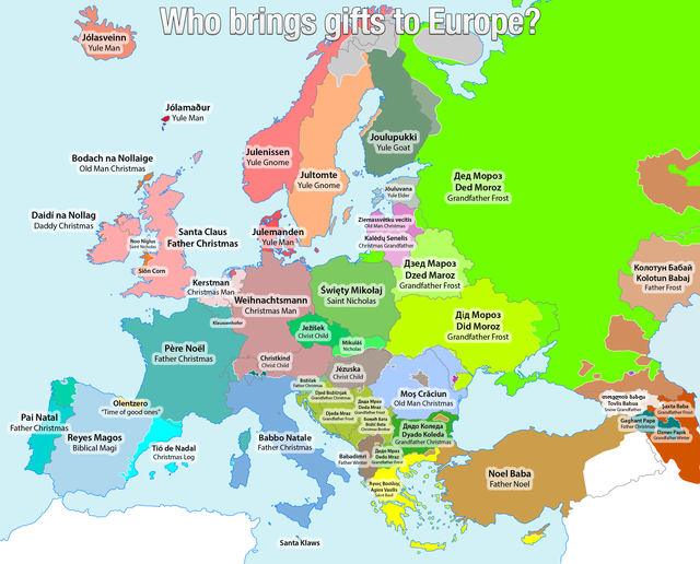a map of different terms for santa claus across europe