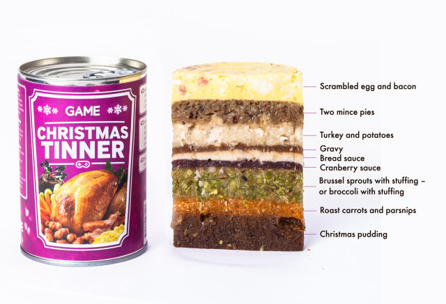 Christmas Tinner, An Entire Holiday Dinner Layered in a Can