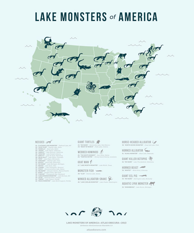 Map of the Lake Monsters of America