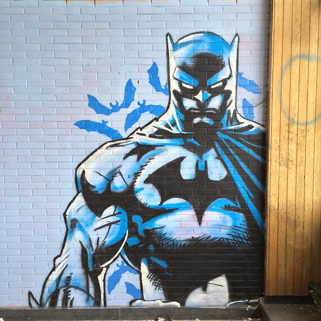 amazing batman graffiti art found in an abandoned building