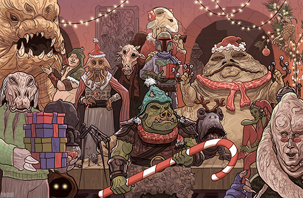 Star Wars Christmas Jabba Bells Christmas Card