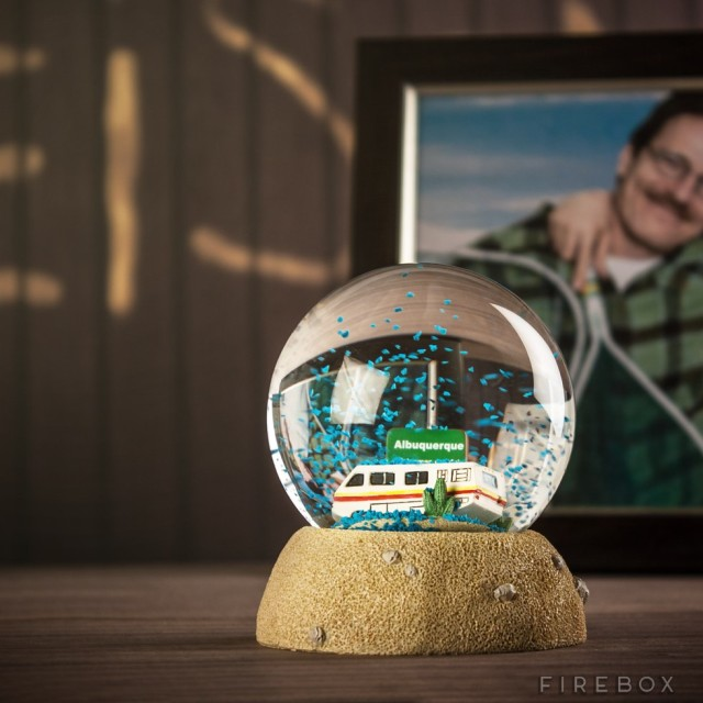 A Breaking Bad Snow Globe That Shakes Blue Crystals Onto A Winnebago in the Albuquerque Desert
