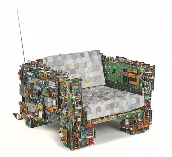 Rollins Console Table: Binary Chair, A Chair Covered In Computer Parts