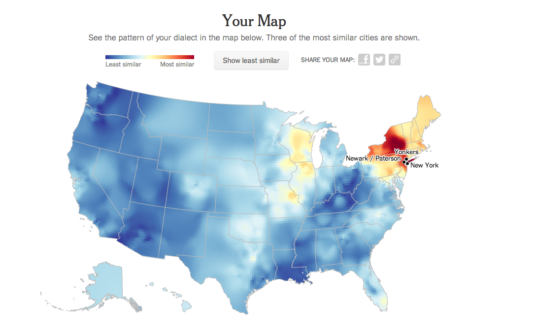 New York Times Quiz Uses Idiomatic Phrases To Plot Linguistic - Accent map of us