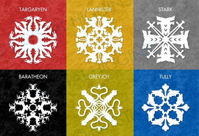 DIY Paper 'Game of Thrones' House Sigil Snowflakes