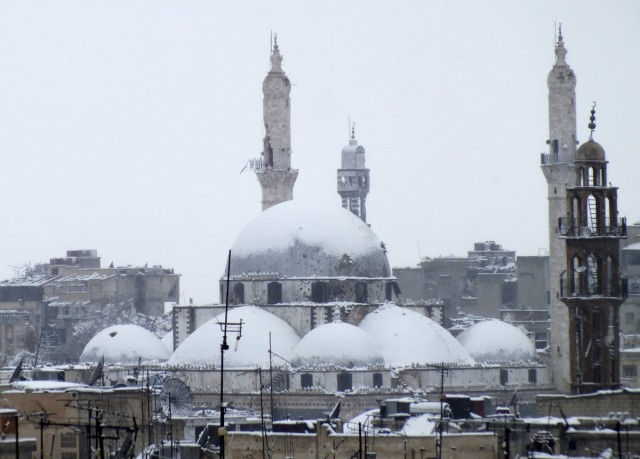 Khalid bin al Walid Mosque Covered in Snow