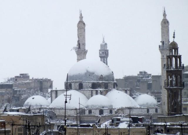 Khalid bin al Walid Mosque Covered in Snow