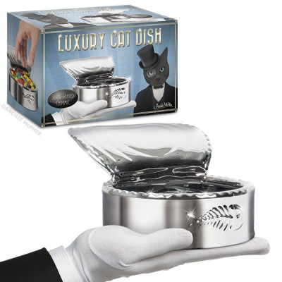 A Silver Plated Cat Dish That Looks Like an Open Can of Cat Food