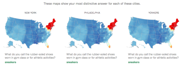 new york times quiz uses idiomatic phrases to plot linguistic differences of spoken english on map