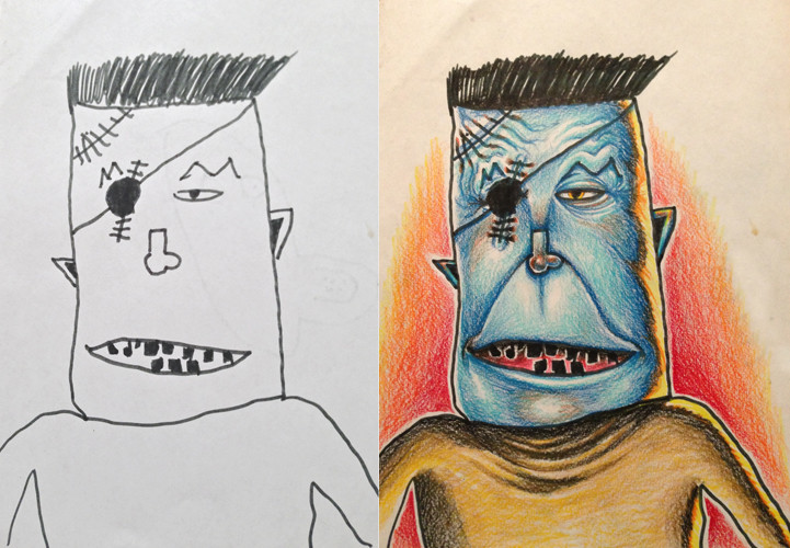 Dad Colors In Pencil Drawings Made By His Kids