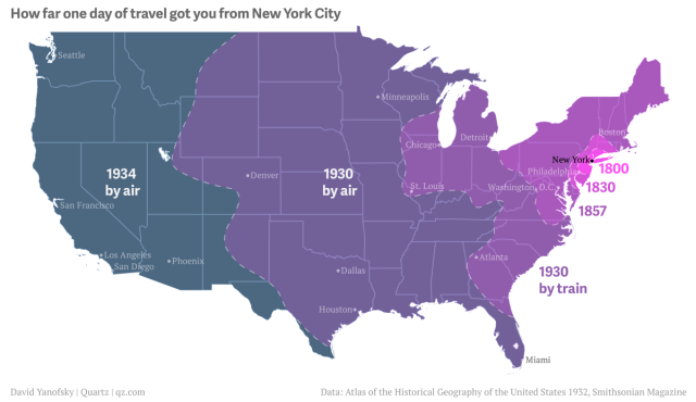 An Interactive Map Of The US That Shows Travel Times From New York - Map of the us in 1800