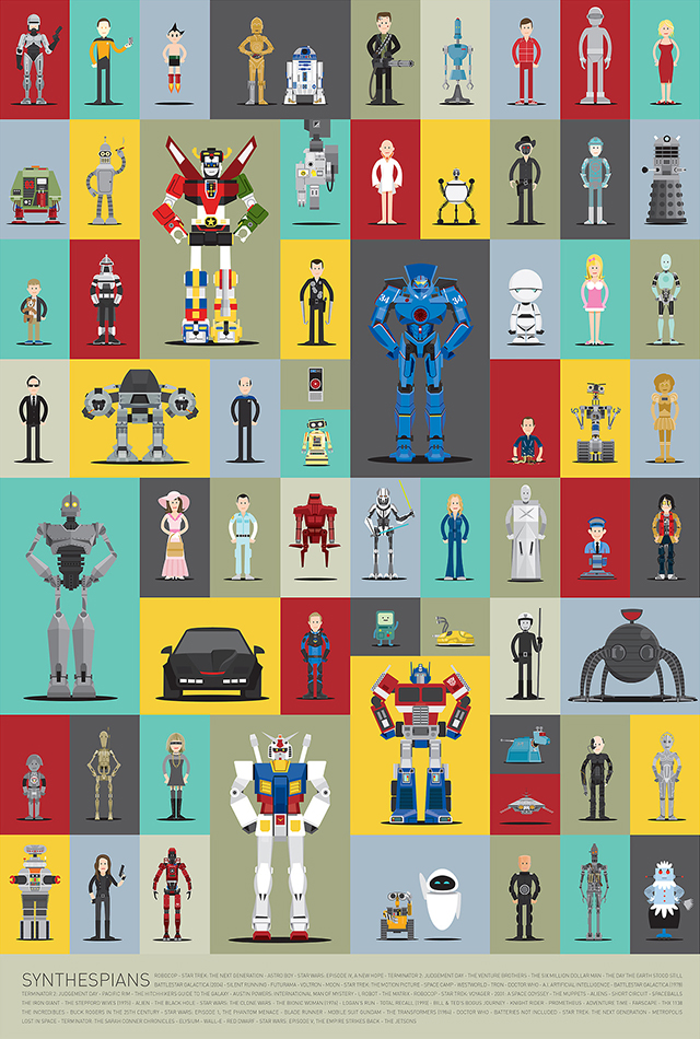Synthespians, Illustrated Versions of 66 Famous Robots From