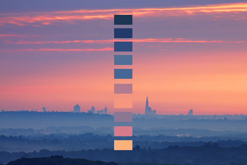 Color palettes derived from nature photography for Ideanature