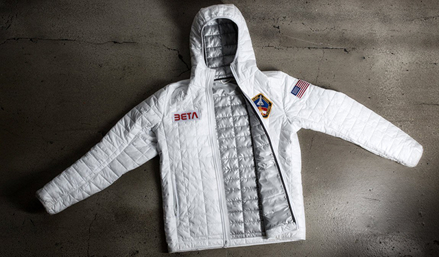 Space jacket a nasa inspired white thermal jacket by for Space pants fabric