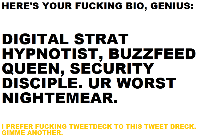 What the Fuck Is My Twitter Bio?