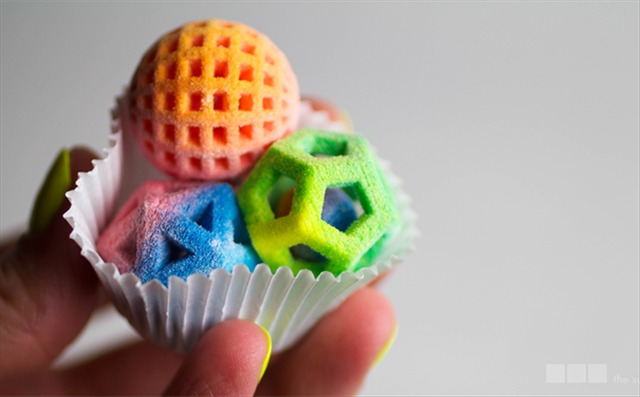 Colorful Geometric Sugar Candies Made with a ChefJet 3D Printer by 3D Systems