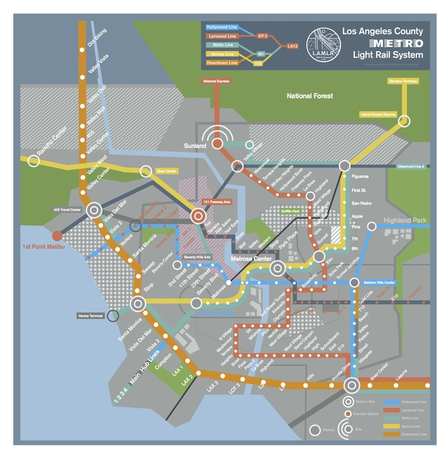 A futuristic map of the los angeles subway system as featured in the los angeles subway map from publicscrutiny Images