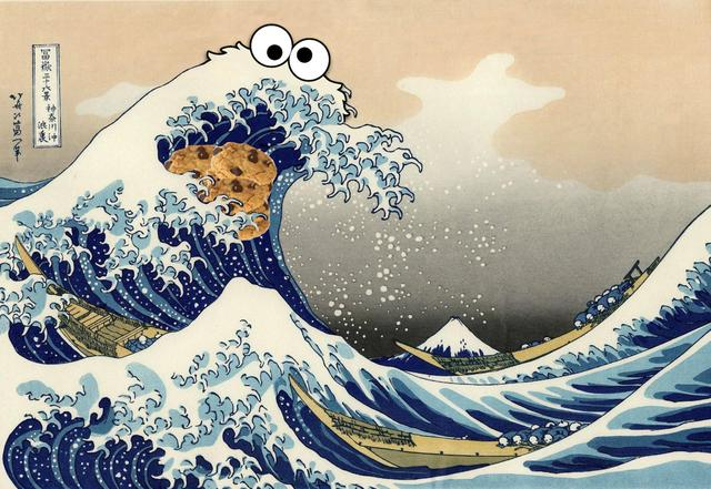 Image result for great wave cookie monster