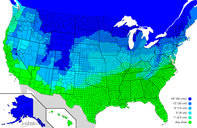 A Map of How Much Snow It Takes to Cancel School Across the United States