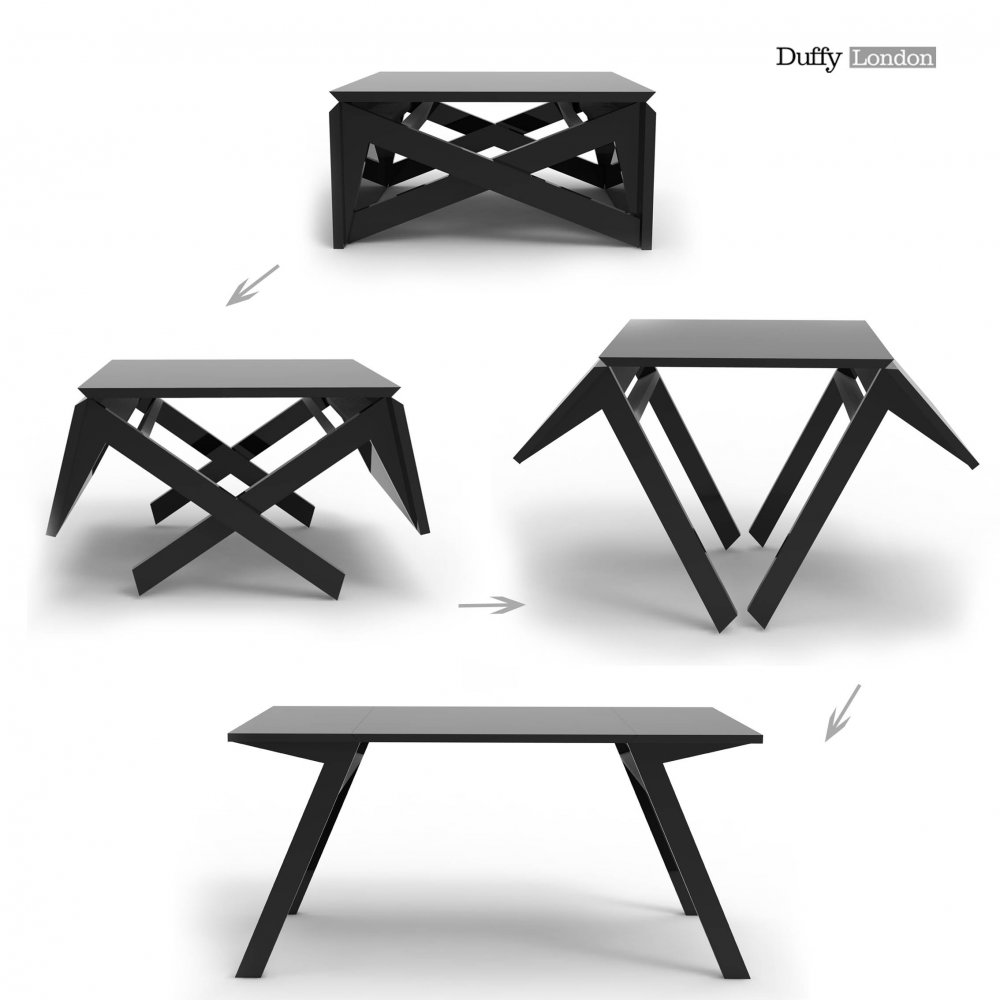 The mk1 transforming coffee table can convert into a Table extensible petit espace