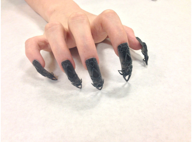3D Black Castle Nails