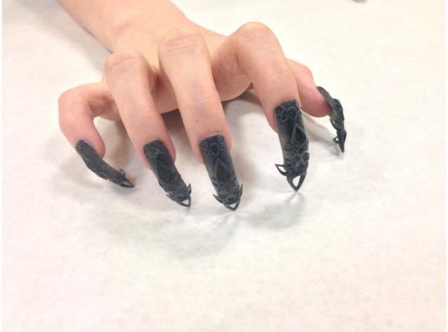 3D Black Castle Nails