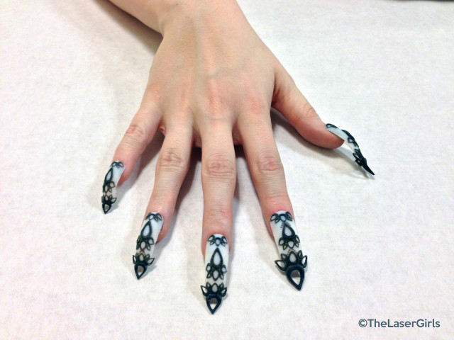 3D Black and White Castle Nails