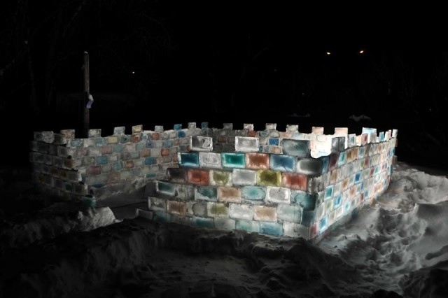 Man Builds Ice Block Fort in His Backyard