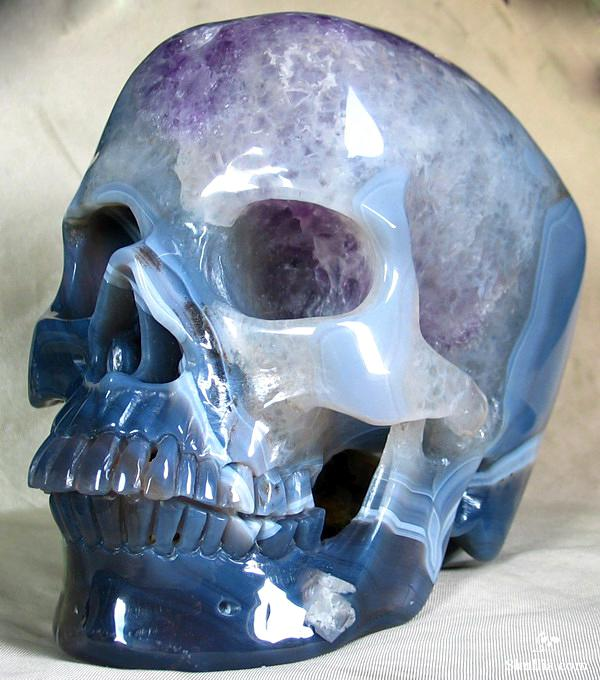 Carved crystal skull made from agate geode