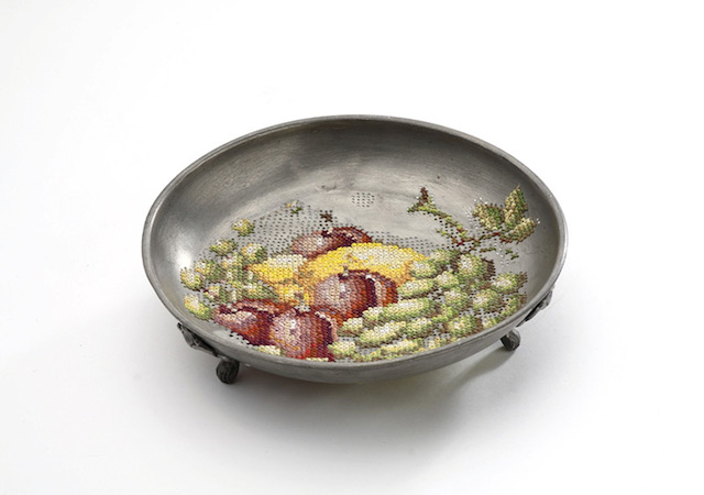 Embroidered Fruit on Metal Plate