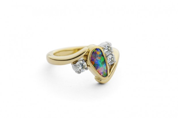 Opal Diamond Gold Ring