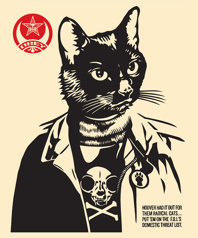 Radical Cat Print by Shepard Fairey