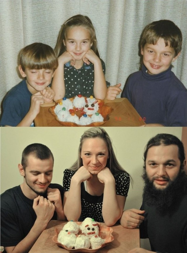 Siblings Meticulously Re-Create Twelve Childhood Photos to Make a Calendar For Their Parents