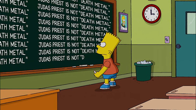 Bart Simpson Repeatedly Apologizes on the Chalkboard for Labeling Judas Priest as Death Metal