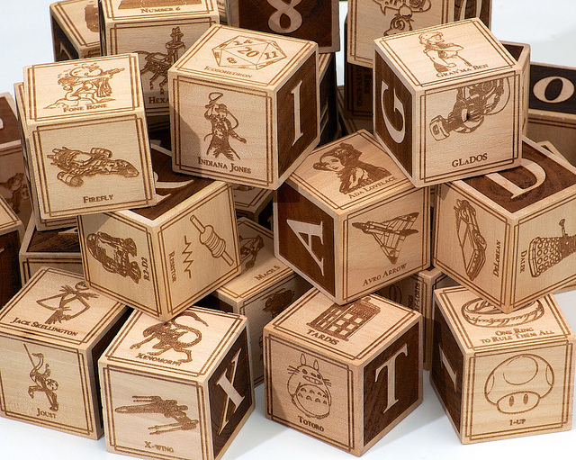 Man Crafts Nerdy Set of Alphabet Blocks to Share With His Newborn Son