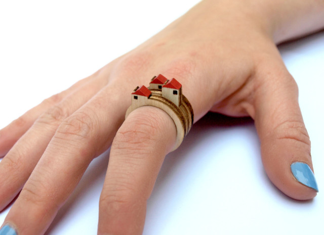 Laser Cut Rings with Mini Dioramas