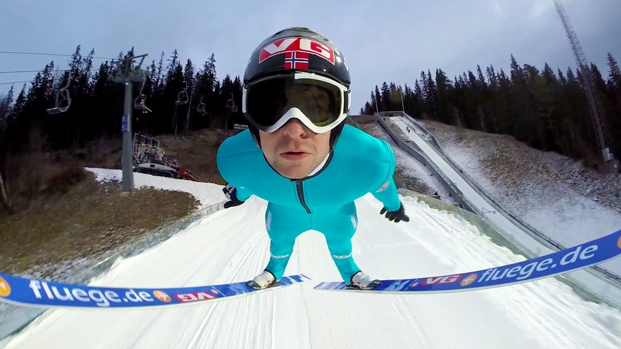 Ski Jumping With A Helmet Mounted Gopro Camera
