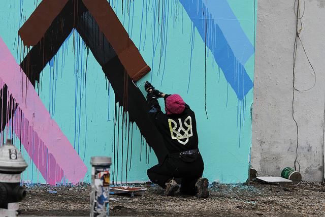 Geometric Mural at the Bowery Wall by Maya Hayuk