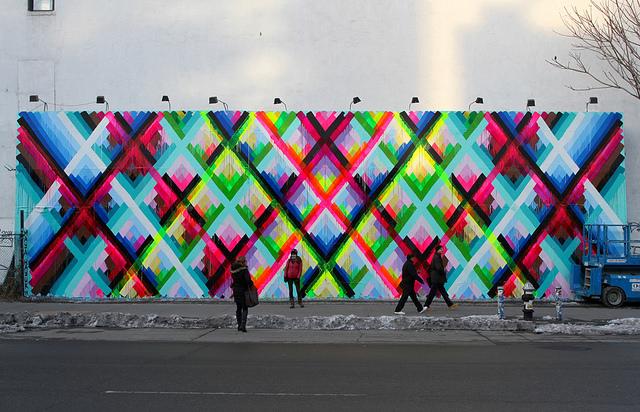 Artist Maya Hayuk Creates Striking Geometric Mural for the Bowery Wall in Manhattan & Artist Maya Hayuk Creates Striking Geometric Mural for the Bowery ...