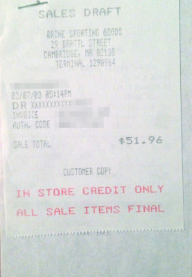 My 2003 Receipts, Brine Hardware