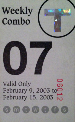 My 2003 Receipts, Weekly T-Pass