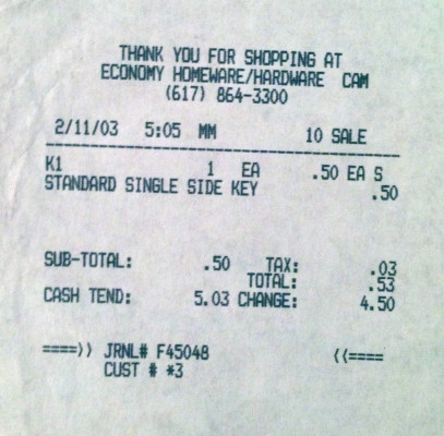 My 2003 Receipts, Economy Hardware