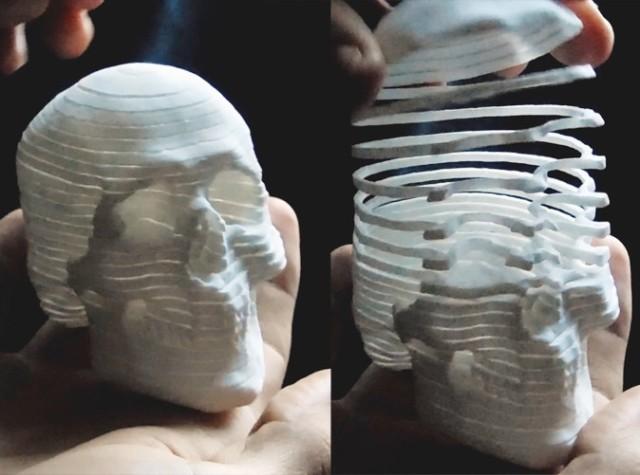 3D Printed Slinky-Style Skull
