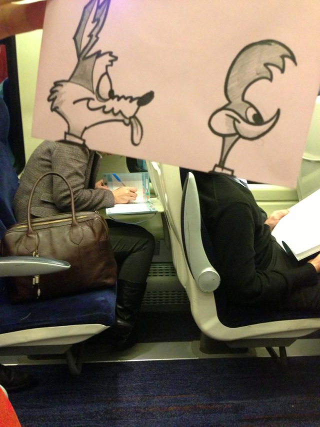 Artist Turns Fellow Train Passengers Into Funny Cartoon Characters with His Post-It Note Doodles