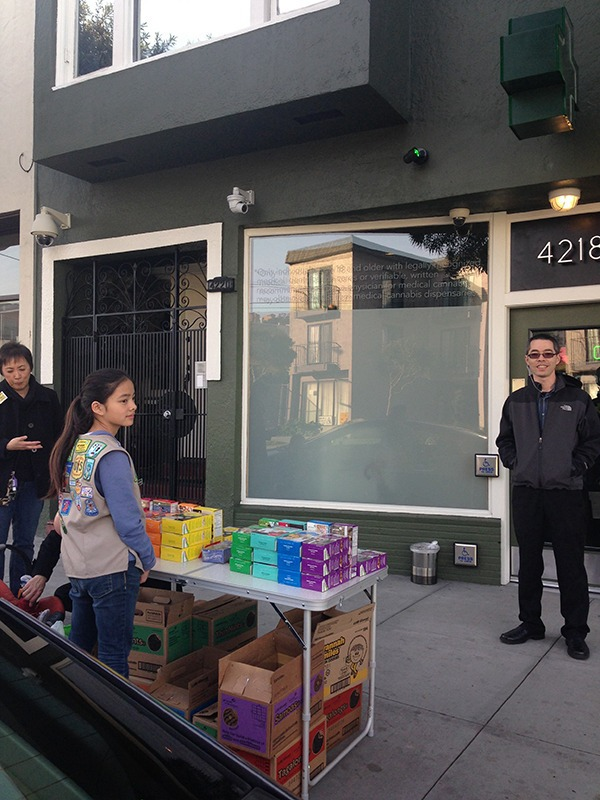 Girl Scout Sells Cookies Outside San Francisco Cannibis Dispensary